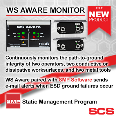 SCS WS Aware Monitor - continuously monitors path to ground and when paired with SMP Software (Static Management Program) sends email alernts when ESD ground failures occur